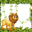 Stock Vector: King lion in leafy frame