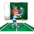 A tennis player in front of the flag of Pakistan — Stock Vector