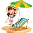 Stock Vector: Girl near foldable beach bed and umbrella