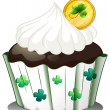 A chocolate cupcake with a token - Stock Vector