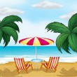 A view of the beach with a beach umbrella and chairs — Stock Vector