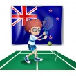 Stock Vector: A tennis player in front of the flag of New Zealand