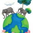 Two elephants walking at the earth's surface — Stock Vector