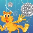 A tiger and the disco lights — Stock Vector