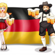 The flag of Germany with a man and a woman — Stock Vector