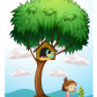 A girl with a magnifying lens under a big tree -  