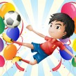 A soccer player with balloons — Stock Vector #22204459
