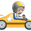 A girl in her yellow racing car — Stock Vector #22204483