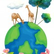 Two giraffes above the earth — Stock Vector