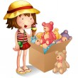 A young girl beside a box of toys — Stock Vector
