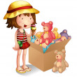 A young girl beside a box of toys — Stock Vector #22204495