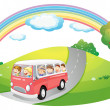 Royalty-Free Stock Vector Image: A pink bus with passengers