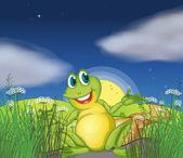 A big green frog at the road — Stock Vector