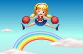 A cheerer above the rainbow — Stock Vector