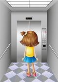 Asansör, küçük bir kız — Stok Vektör