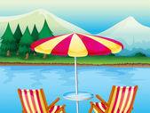 A beach umbrella with chairs — Stock Vector