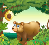 A big brown bear staring at the beehive — Stock Vector