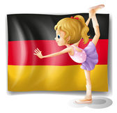 A ballet dancer in front of the flag of Germany — Stock Vector