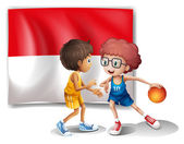 The flag of Indonesia at the back of the basketball players — Stock Vector