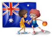 Basketball players in front of the Australian flag — Stock Vector