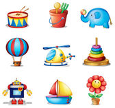 Nine different kinds of toys — Stock Vector