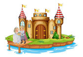 A prince and a princess at the wooden bridge near the castle — Stock Vector