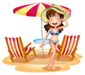 A girl in front of the umbrella with chairs — Stock Vector