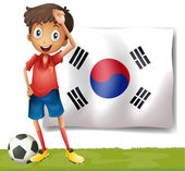 A Korean flag at the back of the soccer player — Stock Vector