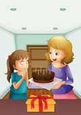 A girl wishing before blowing her birthday cake — Stock Vector