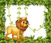 A king lion in a leafy frame — Stock Vector