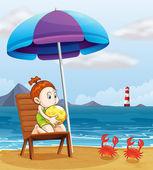 A young girl holding a beach ball at the beach — Stock Vector