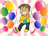 A very happy man with balloons — Stock Vector