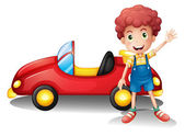 A young boy in front of a red car — Stock Vector