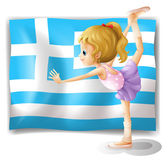 The flag of Greece with a ballet dancer — Stock Vector