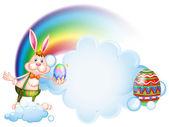 A bunny holding an egg near the rainbow — Stock Vector