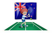 A tennis player in front of the flag of New Zealand — Stockvector