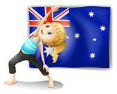 Dívka strečink před australská vlajka — Stock vektor