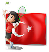A tennis player in front of the flag of Turkey — Stock Vector