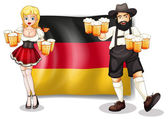The flag of Germany with a man and a woman — Vector de stock