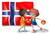 Basketball players in front of the flag of Norway — Wektor stockowy