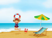 A girl playing at the shore — Stock Vector