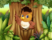 Bir ağaç bir baykuş ile içi boş — Stok Vektör