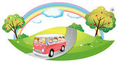 A pink bus with passengers — Stock Vector