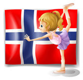 Flag of the Bouvet Island with a girl — Stock Vector