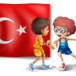 Two boys playing basketball in front of the flag of Turkey — Stock Vector