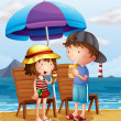 Two kids at the beach near the wooden chairs - Stock Vector