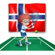 The flag of Norway at the back of the tennis player - Stok Vektör
