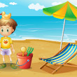 A young boy and his toys at the beach — Stock Vector #22316451