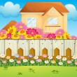 House with blooming flowers — Stock Vector #22316461