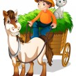 A farmer riding a cart with a cat at the back — Stock Vector
